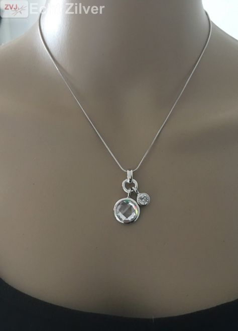 quantité limitée livraison gratuite meilleur service New Bling Zilveren collier met hanger bedel cirkels New ...