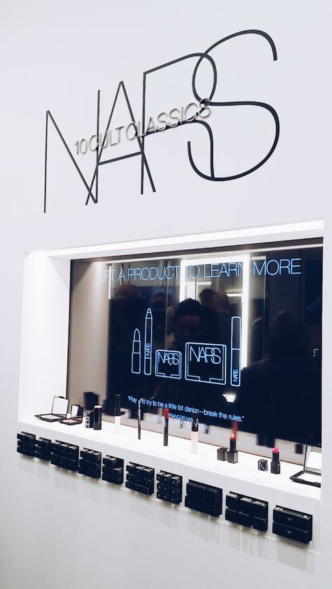 BLOGGED: NARS Covent Garden boutique - The latest addition to Covent Garden's 'beauty quarter'. My favourite feature is the display wall of top 10 cult classics. When you lift up one of the products, information on how to use it will miraculously appear on the screen.