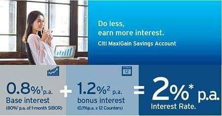 Earn Up To 2 P A Interest With Citibank Maxigain Savings Account
