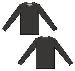 Download Long Sleeve T Shirt Set Vector Illustration Flat Sketches Template Technical Drawing Drawing Templates Vector Clothes
