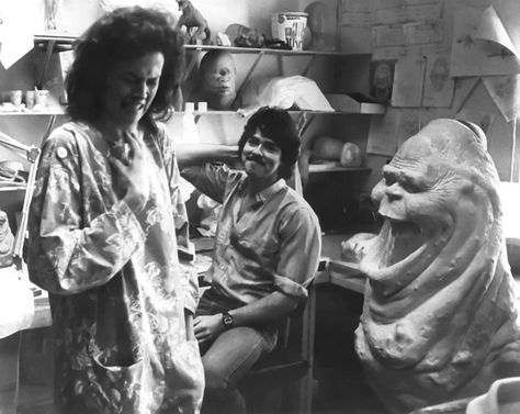 Sigourney Weaver behind the scenes on #Ghostbusters (1984) with Slimer who was dubbed 'Onionhead' during production