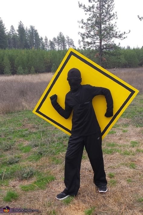 Rhonda: This is my 11 year old son, Ben. He made this costume after reading a funny book about Stick Man on traffic signs. He spray painted a large piece of.