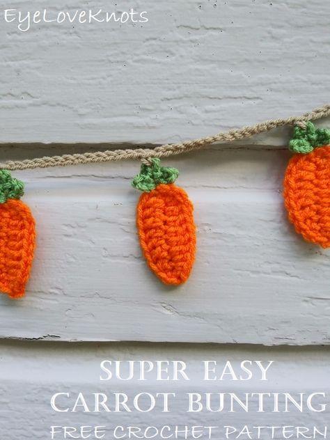 Super Easy Carrot Bunting – Free Crochet Pattern from EyeLoveKnots Crochet Food, All Free Crochet, Crochet Gifts, Easter Crochet Patterns, Crochet Bunting Free Pattern, Crochet Garland, Holiday Crochet, Crochet For Beginners, Crochet Projects
