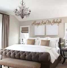 Small Version- Always Kiss Me Goodnight Saying Vinyl Decal- Wall Art- Master Bedroom, Decor