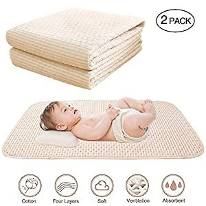 Baby Waterproof Bed Pad Organic Cotton Mattress Protector Reusable Incontinence 4 Protective Layers Ultra Absorb Sheets For Infants Kids Size 39 5 X23 8 Cri In 2020 Bed Pads Waterproof Mattress Cotton Mattress