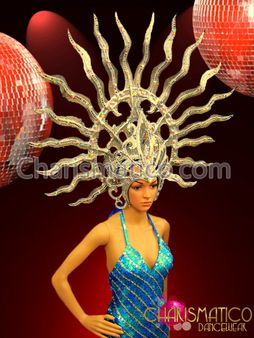 mirror accented Red tipped glittery Golden sun fire showgirl/'s headdress