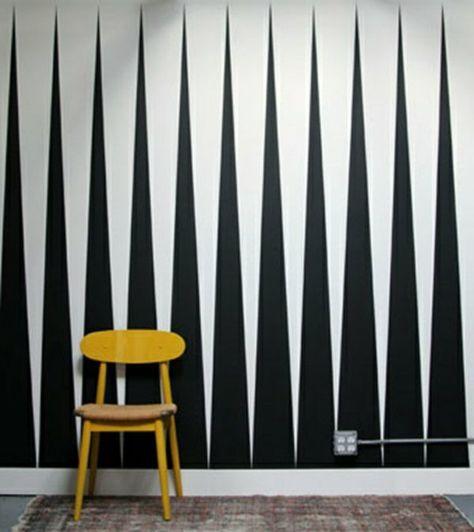Muster Schwarz-Weiß wandgestaltung mit Farbe einrichtungsbeispiele - wandgestaltung mit farbe wohnzimmer