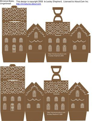 Parts for a two inch printable miniature gift box shaped like a gingerbread house.