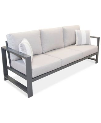 Aruba Grey Aluminum Outdoor Sofa With Sunbrella Cushion Created For Macy S Outdoor Furniture Sofa Outdoor Sofa Gray Patio Furniture