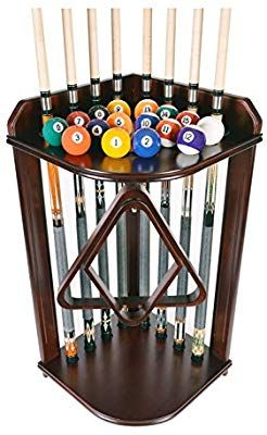 Amazon Com Pool Cue Rack Only Billiard Stick Stand Holds 8 Cues Ball Set Mahogany Finish I Sports Ou Pool Cue Rack Billiards Woodworking Shop Projects