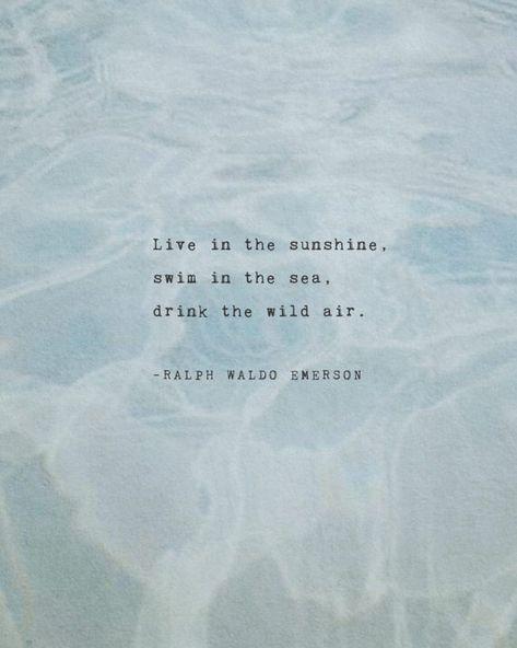 Live in the sunshine, swim in the sea, drink the wild air. –Ralph Waldo Emerson