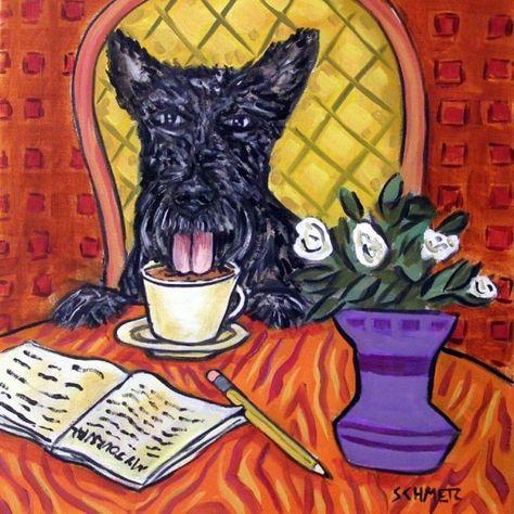 westie west highland white terrier coffee dog art tile coaster gift modern folk