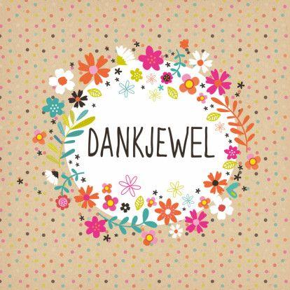 Een vrolijke 'dankjewel' kaart met stipjes en bloemen op een afbeelding van craft papier, verkrijgbaar bij #kaartje2go voor €1,79