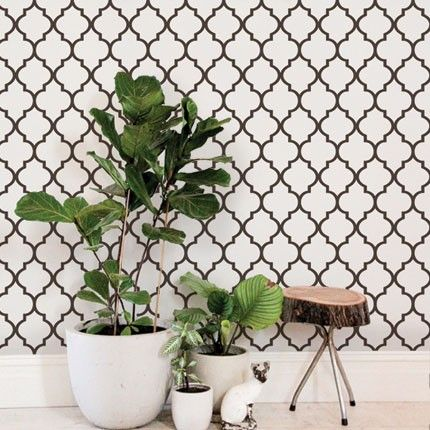 Off White Brown Moroccan Wallpaper