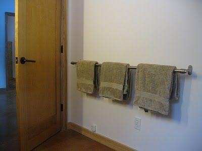 Ikea Curtain Rod As Extra Long Towel Bar Bathroom Pinterest Curtains Towels And Bath