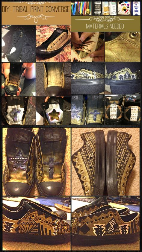 d3f46c97eef2 DIY  TRIBAL PRINT CONVERSE 1. Paint a pair of black converse gold. 2. Paint  the tongue of your shoe a gradient gold.  optional step  I made a stencil  and ...