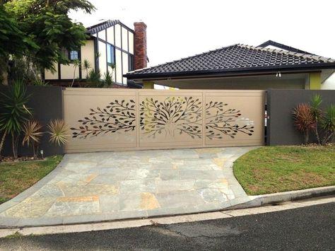 Moderner Sichtschutz Garten Beige Glas Gartentor Baum Motiv