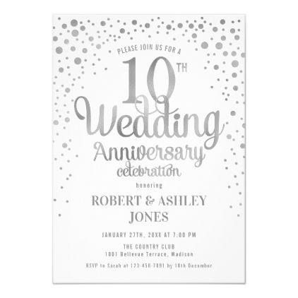 10th Wedding Anniversary Silver White Invitation Zazzle Com