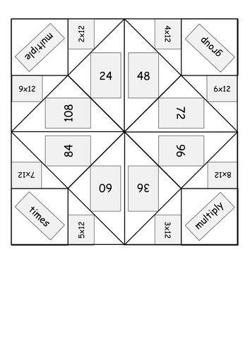 Times/multiplication table origami fortune tellers - Word and PDF - multiplication table