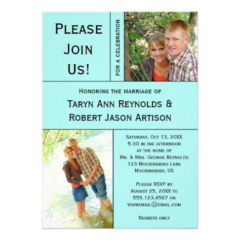 Pale Teal Blue Photo Block Post Wedding Invitation