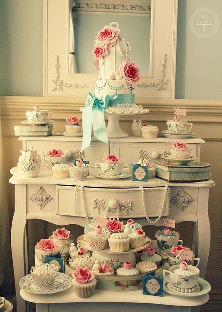Vintage tea party cake table