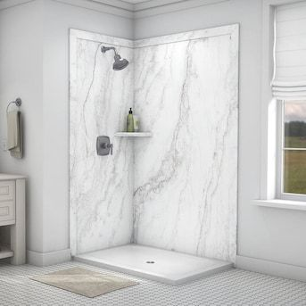Flexstone Elegance 2 Calypso Panel Kit Shower Wall Surround Common 48 In X 36 In Actual 48 In X 36 In Lowes Com In 2020 Bathroom Shower Walls Shower Wall Marble Shower Walls
