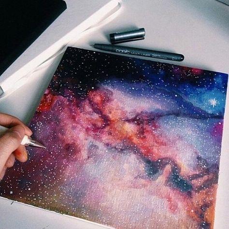 Samisoffthewall Galaxie Aquarelle Peinture Galaxy Et Cahier De