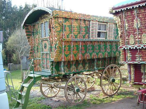 Genuine 100 year old caravan  Located at Stitchins Hill, Worcestershire where renovation of gypsy caravans takes place.