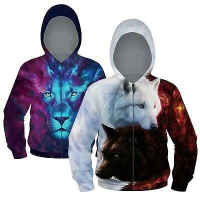 Children Girls Boys 3D Animal Print Casual Sweatshirt Zip Up Hooded Coat Jacket