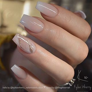 French Ombre With Glitter Marble Accent On Coffin Nails Nail Artist Kyleawherry Nailartisteduca Romantic Nails Coffin Nails Designs Bridal Nail Art