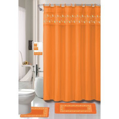 Kashi Home Thea 15 Piece Bath Set Hooks Fabric Shower Curtains