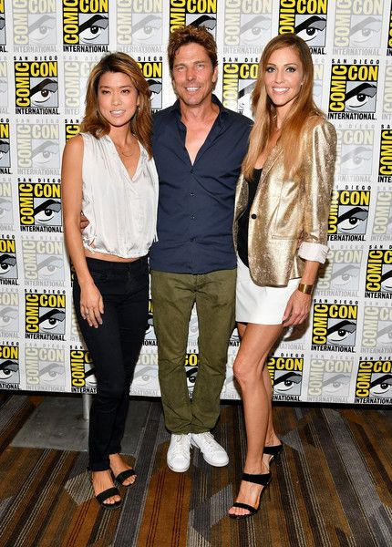 "(L-R) Actors Grace Park, Michael Trucco and Tricia Helfer at the ""Battlestar Galactica"" Reunion press line during Comic-Con International 2017 at Hilton Bayfront on July 20, 2017 in San Diego, California."