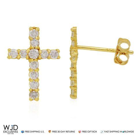14K Yellow Gold 0.50Ct Created Diamond Cross Stud Bush Back Earrings
