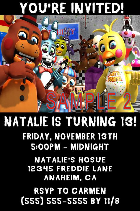 5 Nights Freddy Birthday Invitation Click On The Image Twice To Place Orders Or Follow