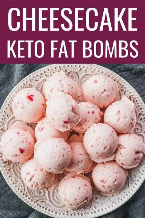The best keto fat bombs! Tastes like strawberry cheesecake bites, and so simple and easy to make using cream cheese, strawberry (blueberry or blackberry), stevia, and butter. / benefits / keto recipes / breakfast / for kids / lchf Strawberry Cheesecake Bites, Strawberry Blueberry, Blackberry, Keto Fat, Low Carb Keto, High Fat Keto Foods, Ketogenic Recipes, Low Carb Recipes, Ketogenic Diet