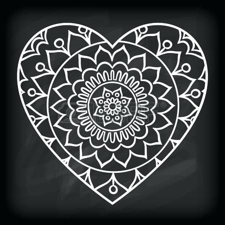 Heart Mandala Coloring Pages Doodle Heart Mandala On Chalkboard Outline Flower In A Heart Shape Mandala Coloring Pages Mandala Elephant Tattoo Hand Art Drawing