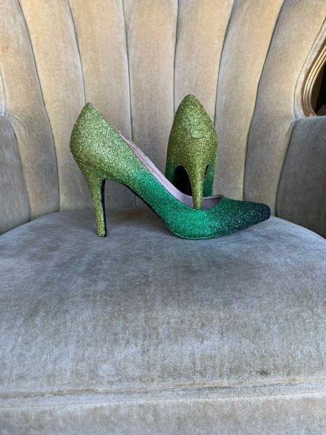 70131d8896f72 Glitter high heels. Mint, silver and white glitter high heels ...
