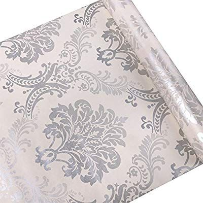 Amazon Com Silver Damask Contact Paper Decorative Self Adhesive Shelf Drawer Liner Wallpaper Damask Removable Wallpaper Contact Paper Decorative Drawer Liner
