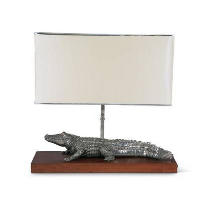 Tropical Tales Pewter Alligator 24 Table Lamp Vagabond House Lamp Table Lamp