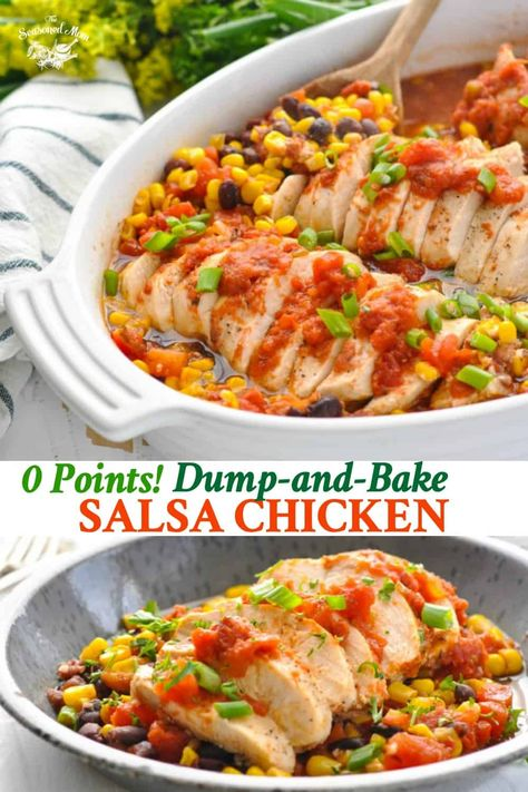 Dump-and-Bake Salsa Chicken is an easy and healthy dinner with Zero Weight Watchers points! Chicken Breast Recipes | Healthy Dinner Recipes | Weight Watchers Recipes | WW Freestyle #healthydinner #chicken
