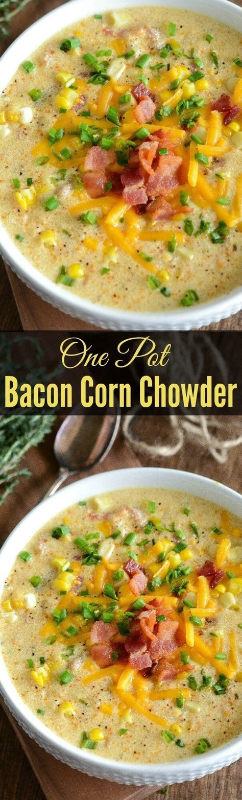 This One Pot Bacon Corn Chowder is the things dreams are made of if you dream of cheesy, bacony, corny things! This soup is easy to make and perfect for dinner any night of the week. #onepotrecipes #cornchowderrecipe #baconcornchowder #souprecipe #dinneridea #cornchowder #cornchowdersoup #easycornchowder #baconinsoup #cornsoup
