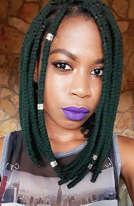 Yarn Braids Bob In 2020 Short Box Braids Yarn Braids Styles Short Braids