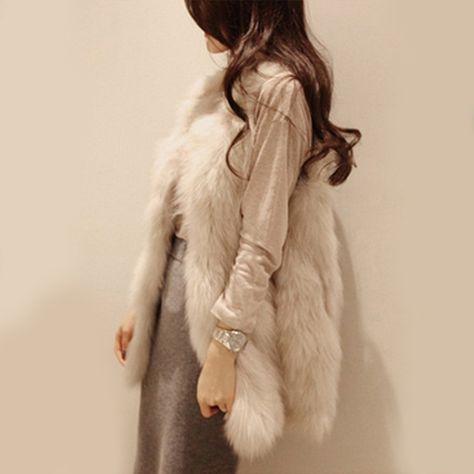 Hot Sale New Chic Lady Faux Fur Vest Warm Coat Outwear Long