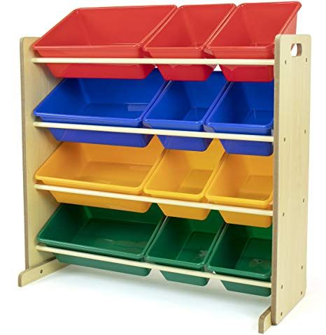 Amazon Com Tot Tutors Kids Toy Storage Organizer With 12 Plastic Bins Natural Primary Primary Collecti In 2020 Toy Storage Organization Kid Toy Storage Toy Storage