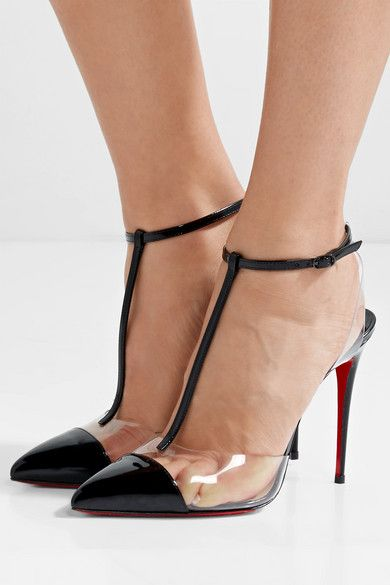 Louboutin Nosy 100mm 4 Inches Black Patent Leather Clear Pvc Buckle Fastening Ankle Strap Made In Italysmal Latest Ladies Shoes Christian Louboutin Louboutin