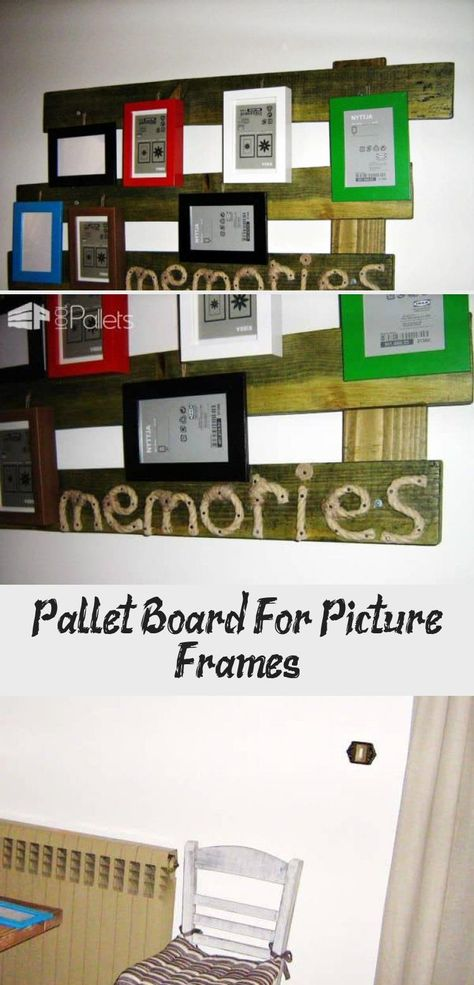 Some pallets painted with pine color varnish nailed asymmetrically compose a rustic background for picture frames.     #PalletDecoration, #PalletFrame, #PalletWalls, #Picture, #RecyclingWoodPallets #PalletWallsPalletDoors #CountryHomeDecorDoItYourself