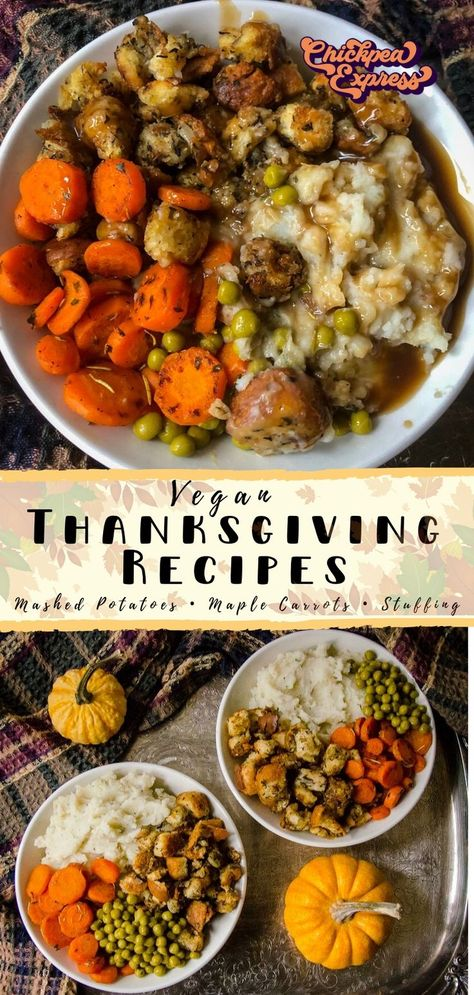 Vegan Thanksgiving dinner recipes. vegan recipe for mashed potatoes, maple glazed carrots, and vegan stuffing. Healthy vegan thanksgiving recipes for the fall!   #vegan #veganfood #veganrecipe #veganrecipes #veganmeal #vegandinner #veganlunch #veganthanksgiving #thanksgiving #thanksgivingrecipes #thanksgivingrecipe #mashedpotatoes #roastedvegetables #homemade #fall #fallrecipes #holidays #alternative #stuffingrecipe #stuffing #potatorecipe #cozy #pumpkin #veganfallrecipes