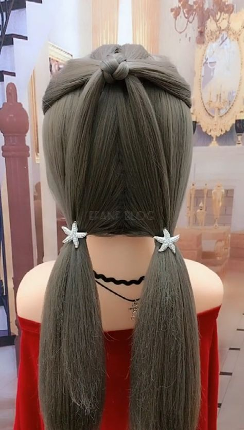 Amazing double horsetail hairstyle
