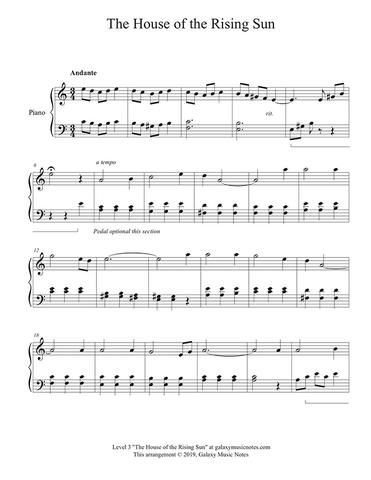 The House Of The Rising Sun Level 3 Piano Sheet Music Sheet