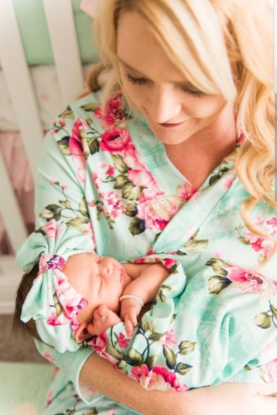 Feel like a goddess. Baby shower gift Mommy and me robes Cotton floral hospital robe for unmatched comfort Maternity robe set